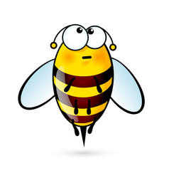 tired a cute bee on white vector image