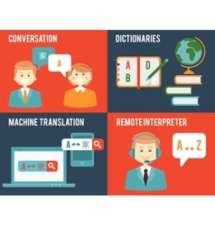 Translation and dictionary concepts in flat style vector image
