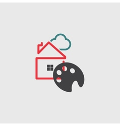 Artists house icon vector