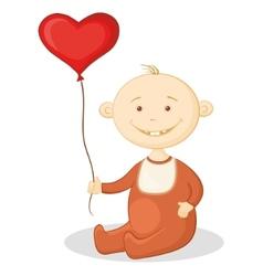 baby with a heart balloon vector image vector image