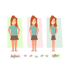 before and after weight loss women thick and thin vector image vector image