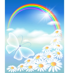 butterfly in the sky vector image vector image