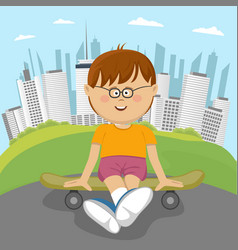 little nerd boy sitting on a skateboard in park vector image vector image
