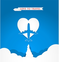 Love travel concept with airplane on heart shape vector image vector image