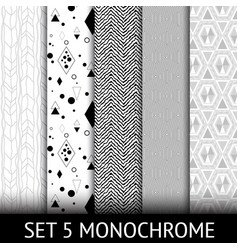 set of 5 different geometric monochrome seamless vector image vector image