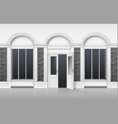shop boutiqu with windows showcase open door vector image vector image