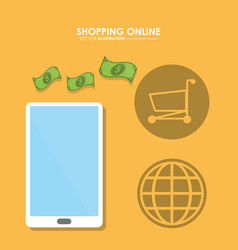Smartphone and bills icon shopping online design vector