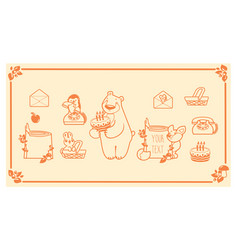 woodland animals and decor elements set vector image vector image