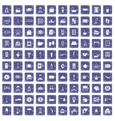 100 inn icons set grunge sapphire vector