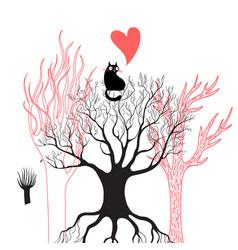a black enamored cat vector image