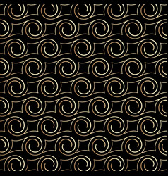 Art deco pattern with swirls black and gold vector