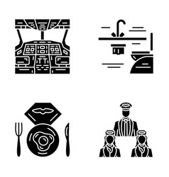 Aviation services glyph icons set vector