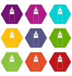baby milk bottle icon set color hexahedron vector image