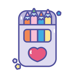 back to school artistic pencils color in box vector image