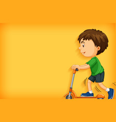 background template design with boy playing vector image