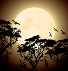 Big yellow moon and silhouettes of tree branches vector