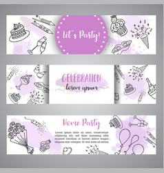 birthday party doodle banner template vector image