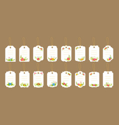 Blank labels template set floral tag composition vector