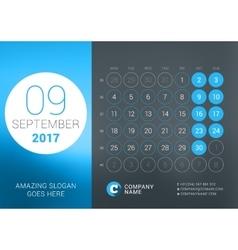 Calendar Template for September 2017 vector image