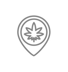 cannabis leaf with location pin line icon vector image