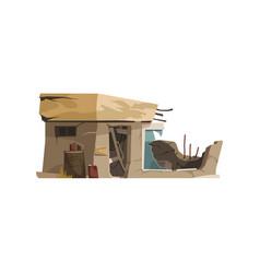 Cartoon destroyed building vector