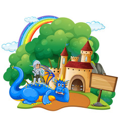 Castle scene with knight and dragon vector