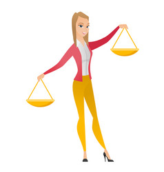 Caucasian business woman holding balance scale vector