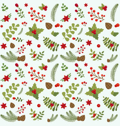 christmas floral seamless pattern vector image