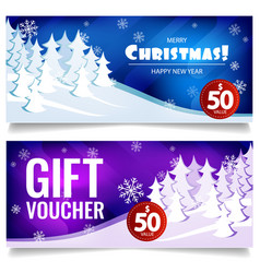 christmas gift voucher on background winter vector image