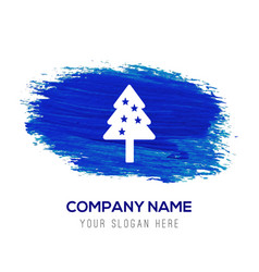 christmas tree icon - blue watercolor background vector image