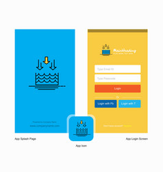 Company water evaporation splash screen and login vector