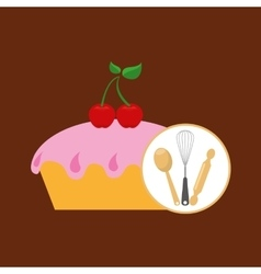 Cookware and cake vector