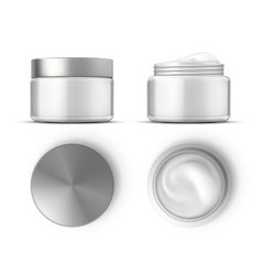 cosmetic cream in white jar top and front views vector image
