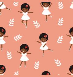 Cute little ballerina girls dancing seamless vector