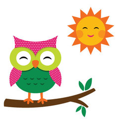 Cute owl and sun vector image