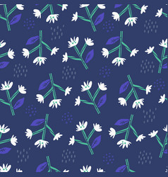 daisy flowers flat hand drawn seamless pattern vector image