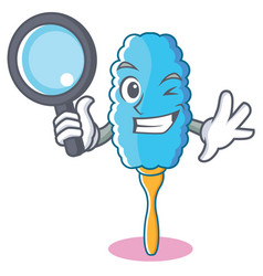Detective feather duster character cartoon vector
