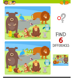 Differences task with cartoon animal characters vector