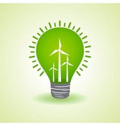 Eco light bulb with windmills vector