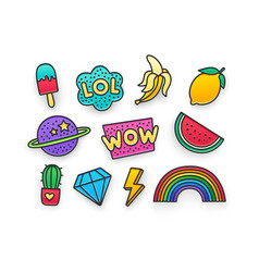 Enamel pin clothing patch pin patches vector