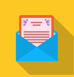 Envelope with invitation card icon in flat style vector