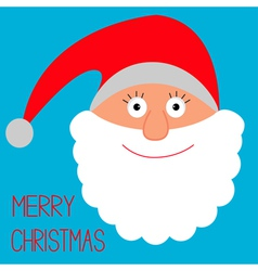 Face of Santa Claus Merry Christmas card vector