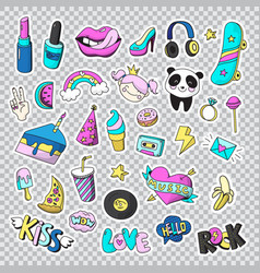 fashion patch badges icon set vector image