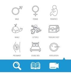 Fertilization pregnancy and pediatrics icons vector