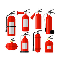 fire extinguishers colorful flat vector image