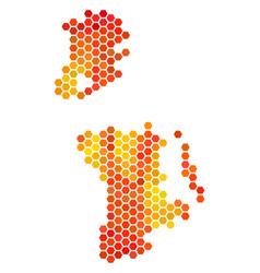 Fire hexagon chinese macau map vector