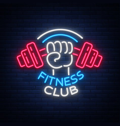 Fitness gym logo sign in neon style isolated vector