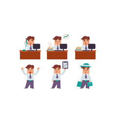 flat set of man office worker in various vector image