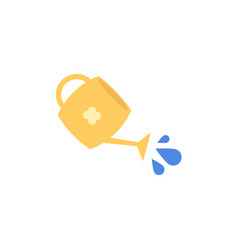 flat yellow watering can with pouring water vector image
