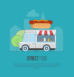 Food truck with hot dogs and lemonade vector